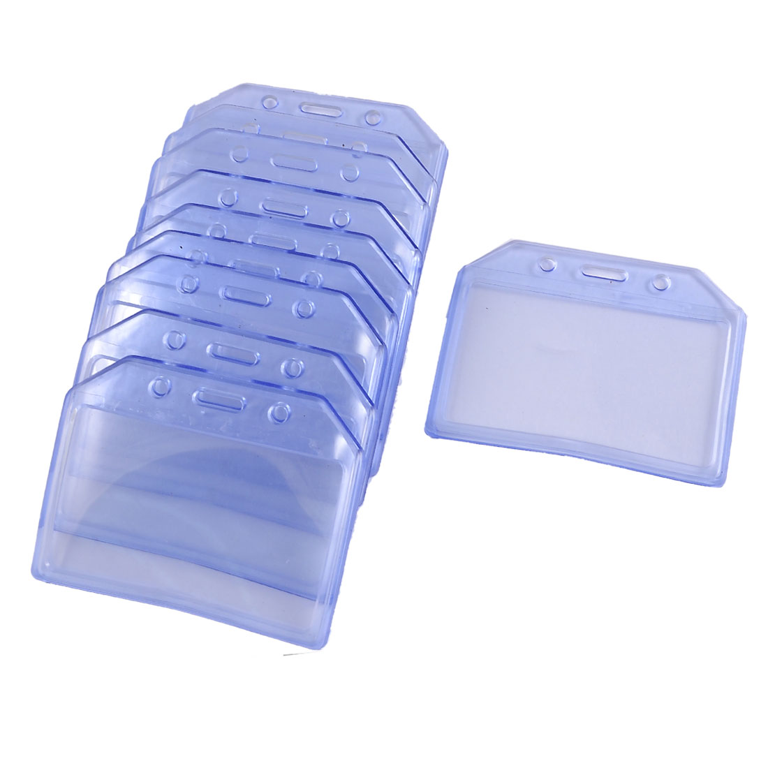 Office Clear Blue Horizontal Solft Plastic Name Cards Badge Holder 10 Pcs