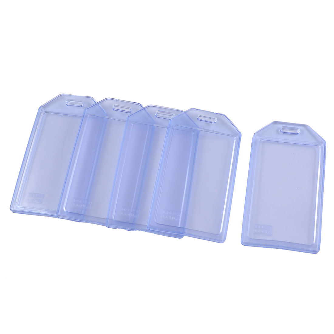 Office Clear Blue Vertical Water Resistant Name Cards Badge Holder 5 Pcs