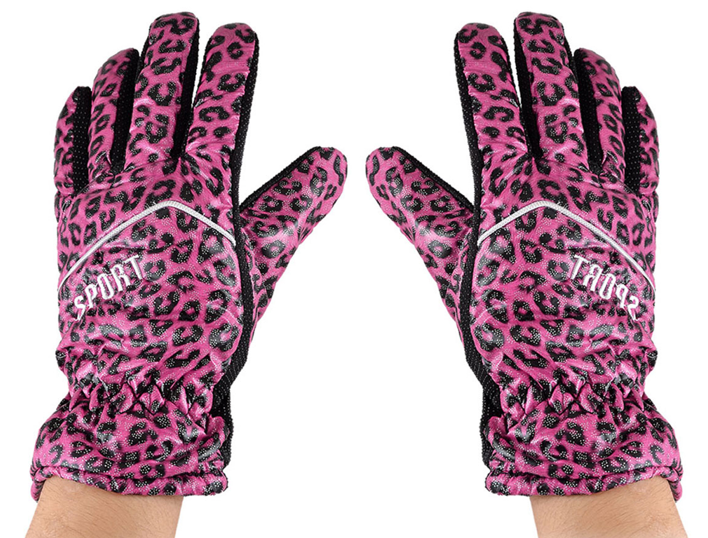 Lady Leopard Print Fleece Lining Winter Gloves Fuchsia Black Silver Tone