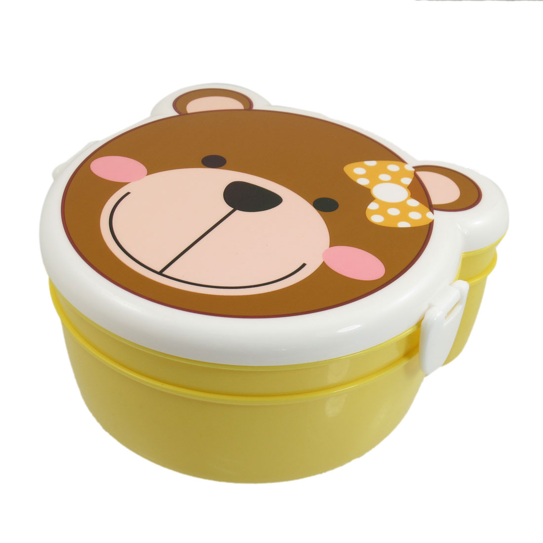 Yellow White Plastic Cartoon Bear Shaped Double Layer Lunch Boxes Case