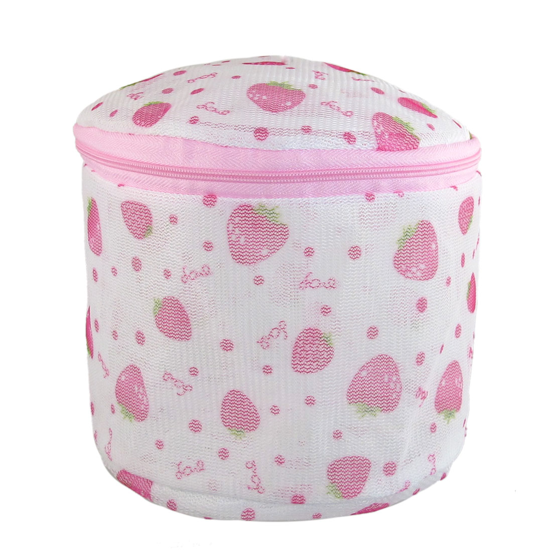 Plastic Frame Strawberry Print Meshy Folding Underwear Bra Washing Bag White Pink