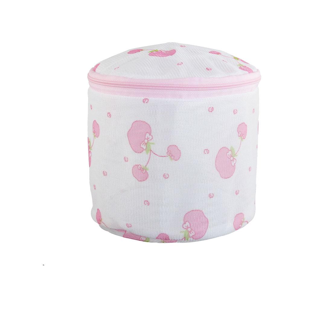 Plastic Frame Apple Print Meshy Folding Underwear Bra Washing Bag White Pink
