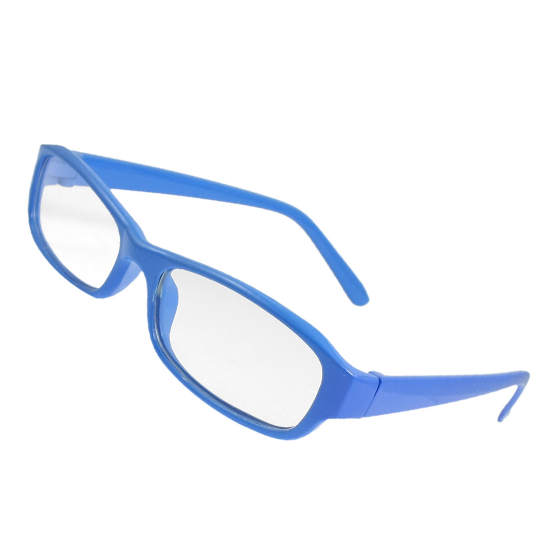 Woman Eyewear Blue Plastic Full Frame Clear Lens Plain Glasses