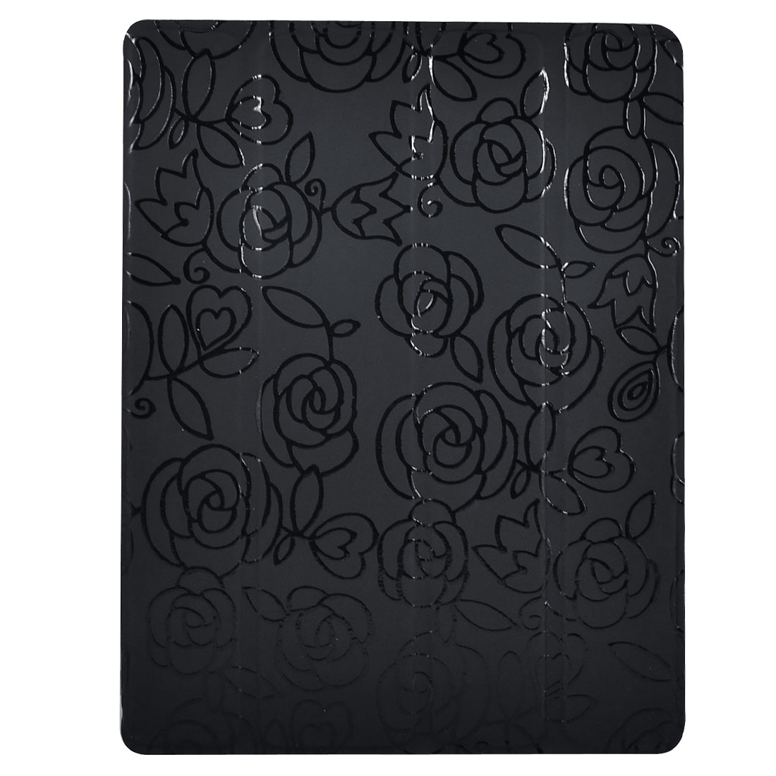 Black Flower Faux Leather Tablet Stand Case Folio Cover for Apple iPad 2