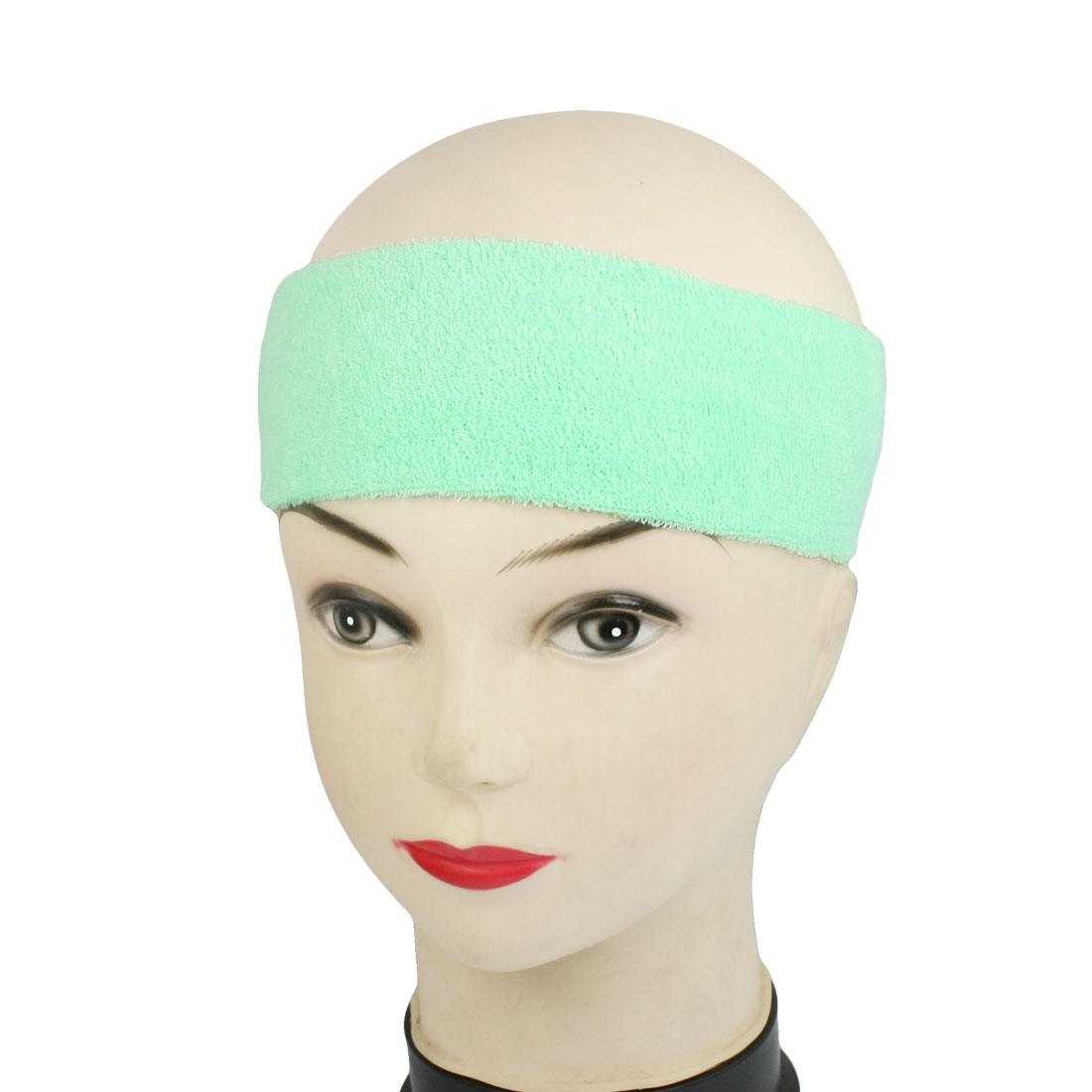 Women Gym Tennis Sports Light Green Headband Head Band Sweatband 2 Pcs