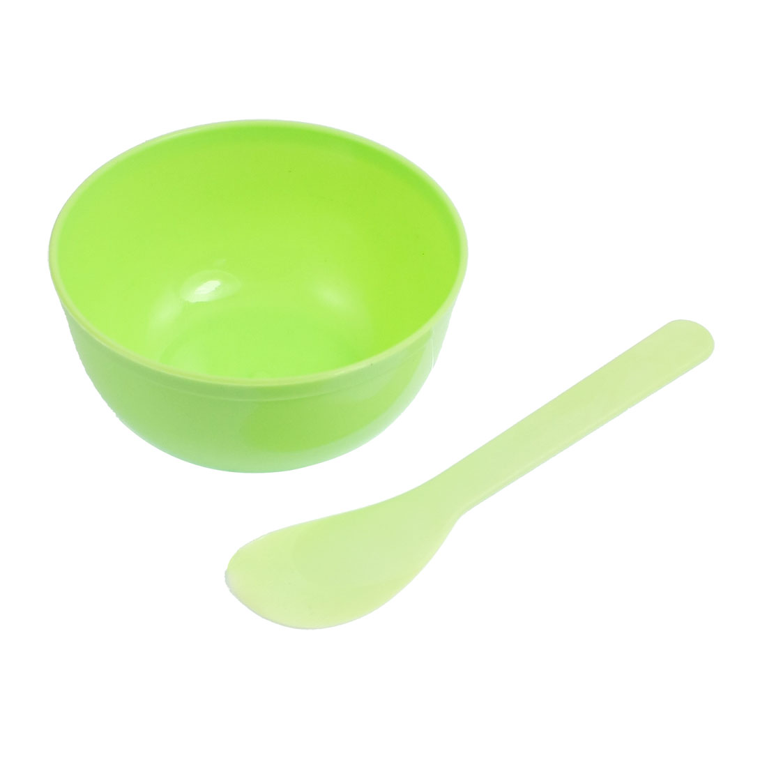 Green Plastic Facial Mask Bowl Stick Makeup Tool 2 in 1 Set