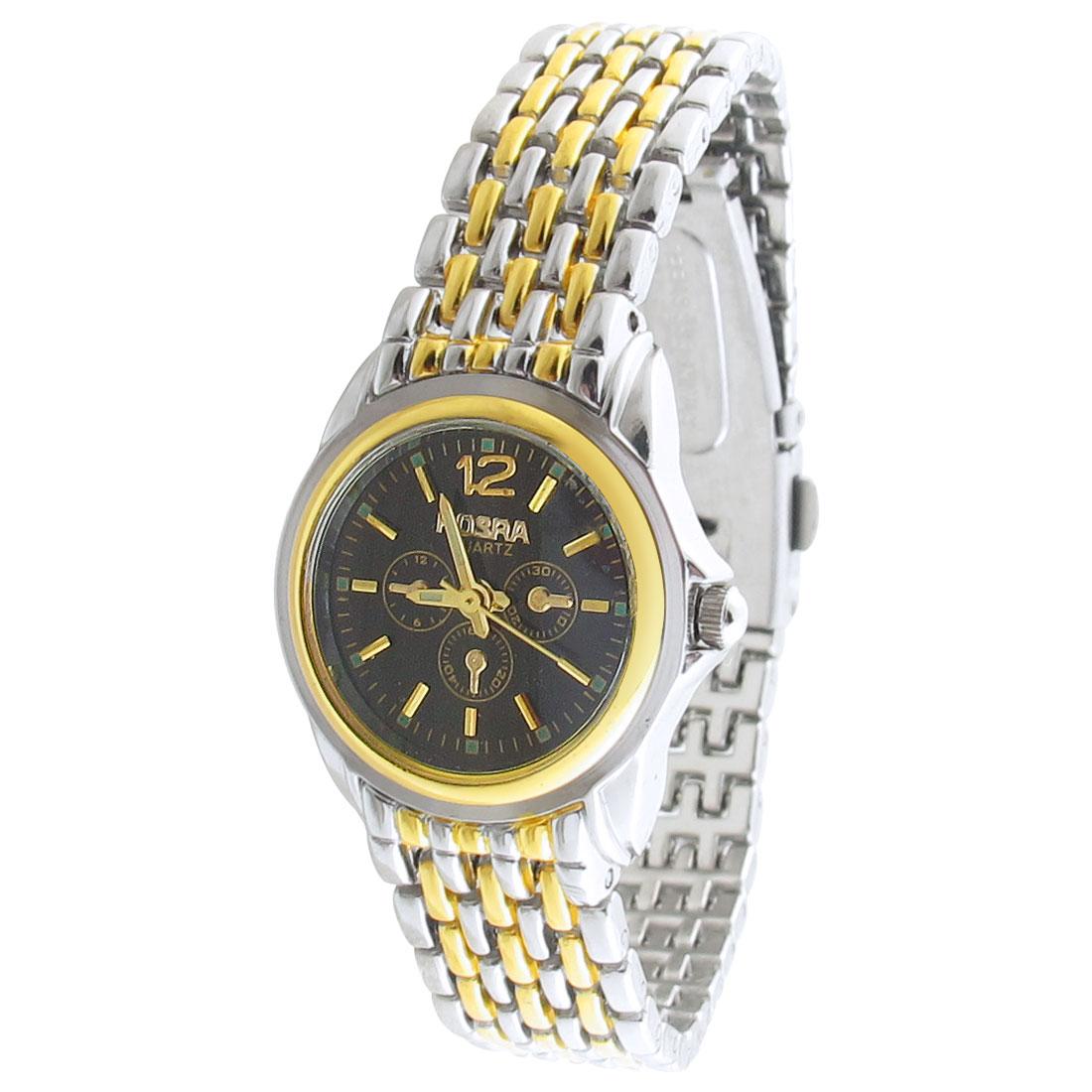 Ladies Black Round Dial Two Tone Watchband Quartz Watch Gift