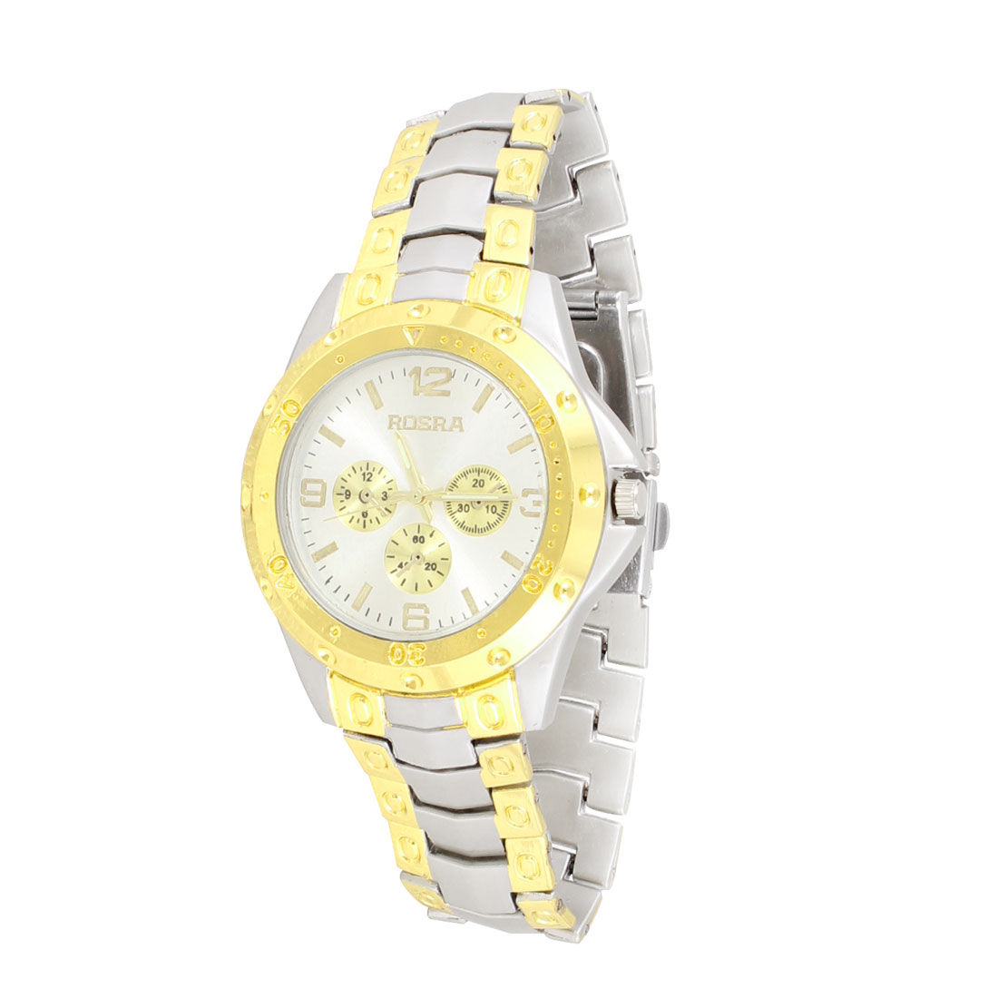 Men Stainless Steel Band Round Dial Case Quartz Watch Two Tone