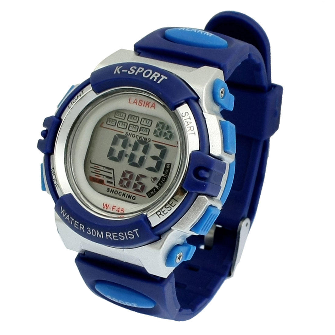 Children Blue Soft Plastic Band Alarm Stopwatch Sports Digits Watch