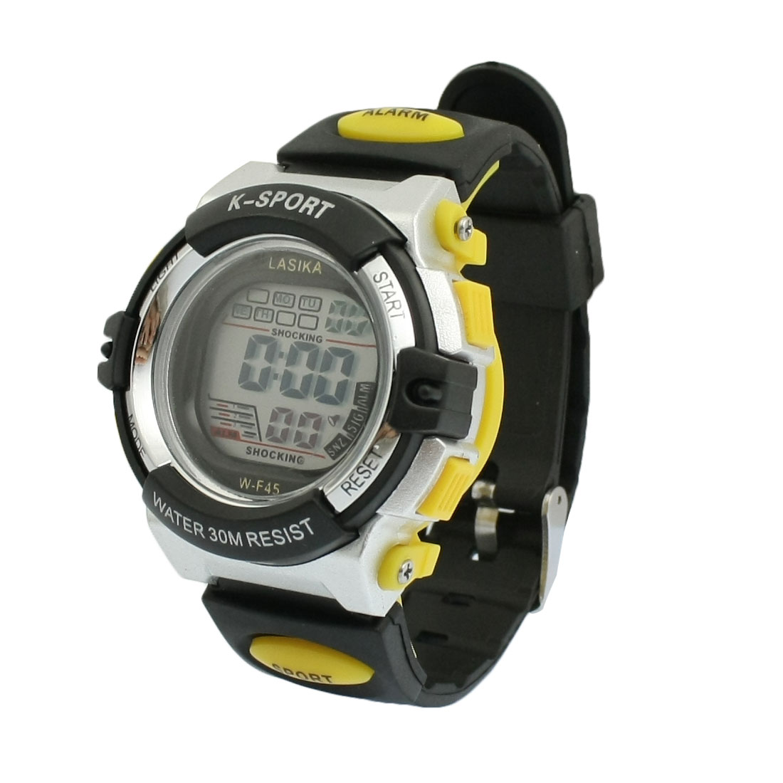 Children Black Adjustable Watchband Alarm Stopwatch Sport Watch