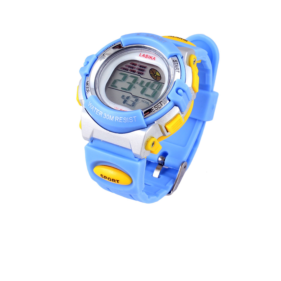 Children Light Blue Soft Plastic Band Alarm Stopwatch Sports Watch