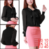 Women Tie-bow Neck Sheer Long Sleeves Chiffon Blouse Black M