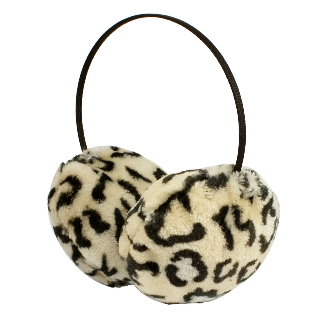 Leopard Printted Soft Plush Ear Warmer Round Earmuffs Black White for Unisex