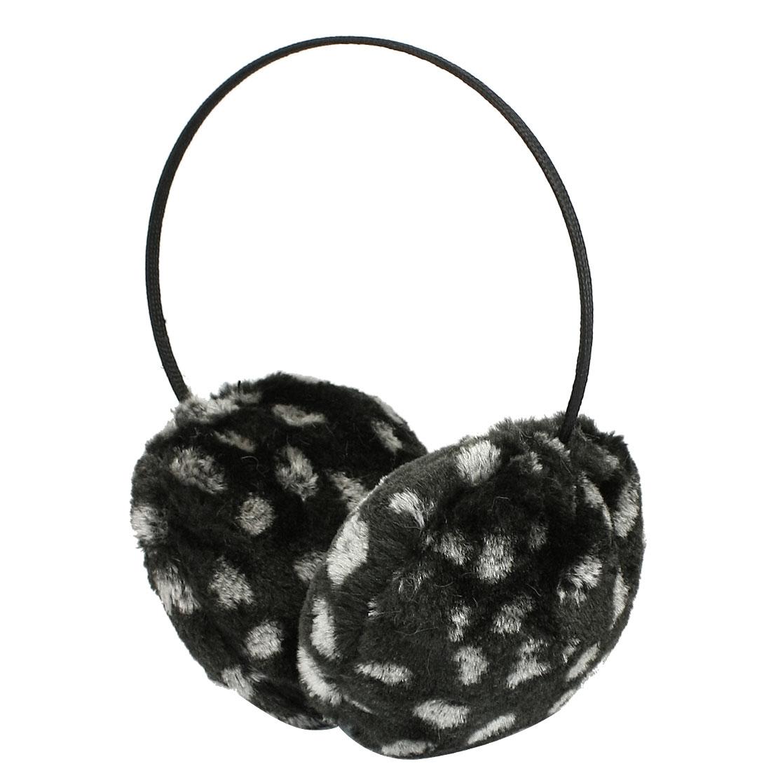 Woman Man Leopard Print Black Nylon Wrapped Metal Band Ear Warmer Earmuff