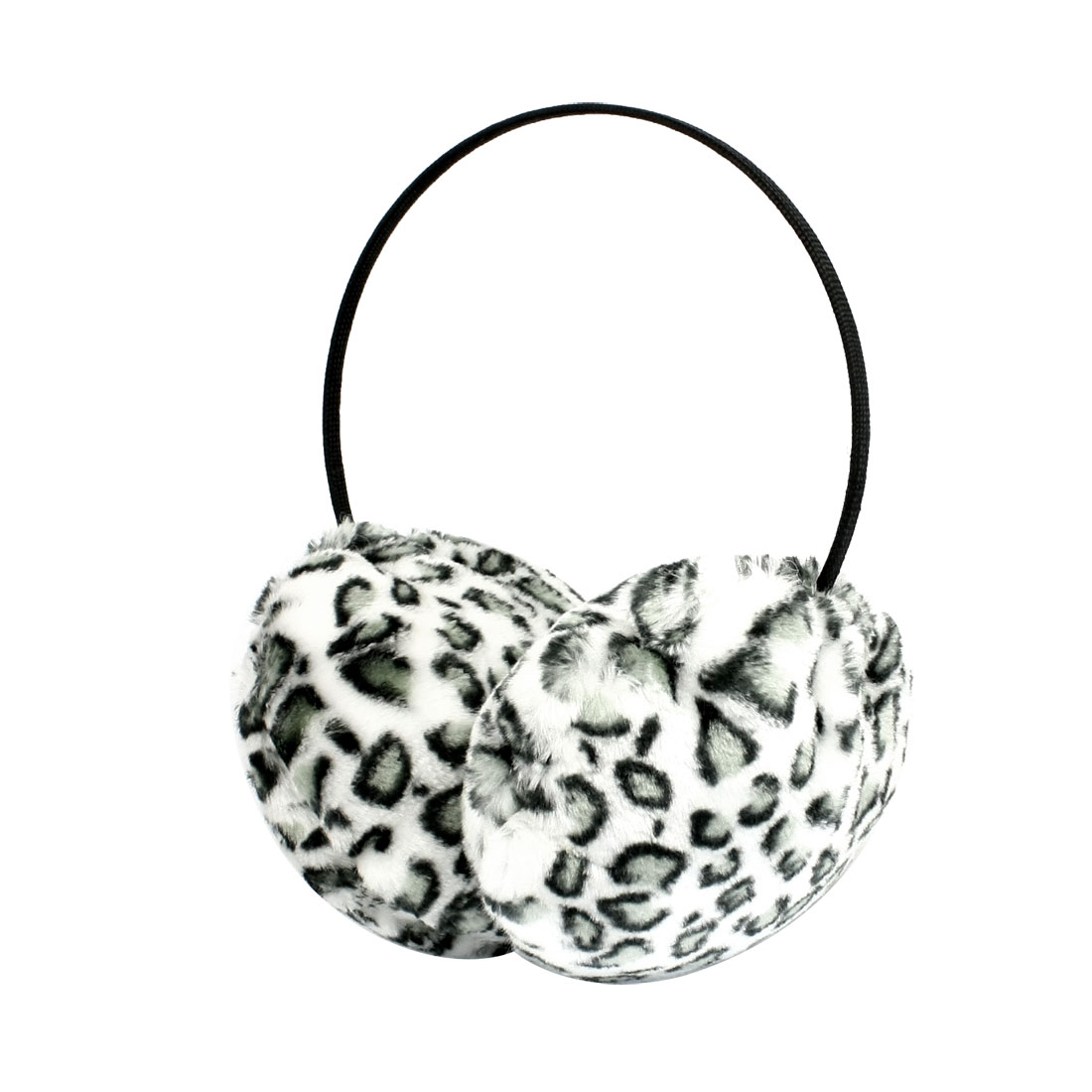 Unisex Black White Leopard Print Nylon Wrap Metal Band Ear Warmer Earmuffs