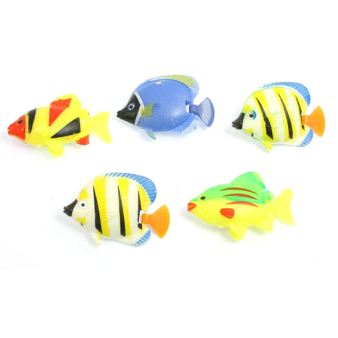 5 Pcs Multicolor Plastic Striped Fishes Decoration for Fish Tank
