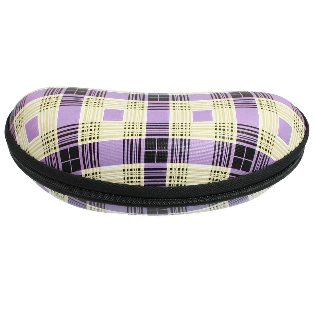 Plaid Pattern Fleece Lining Oval Shaped Zipper Closure Eyeglasses Case Purple