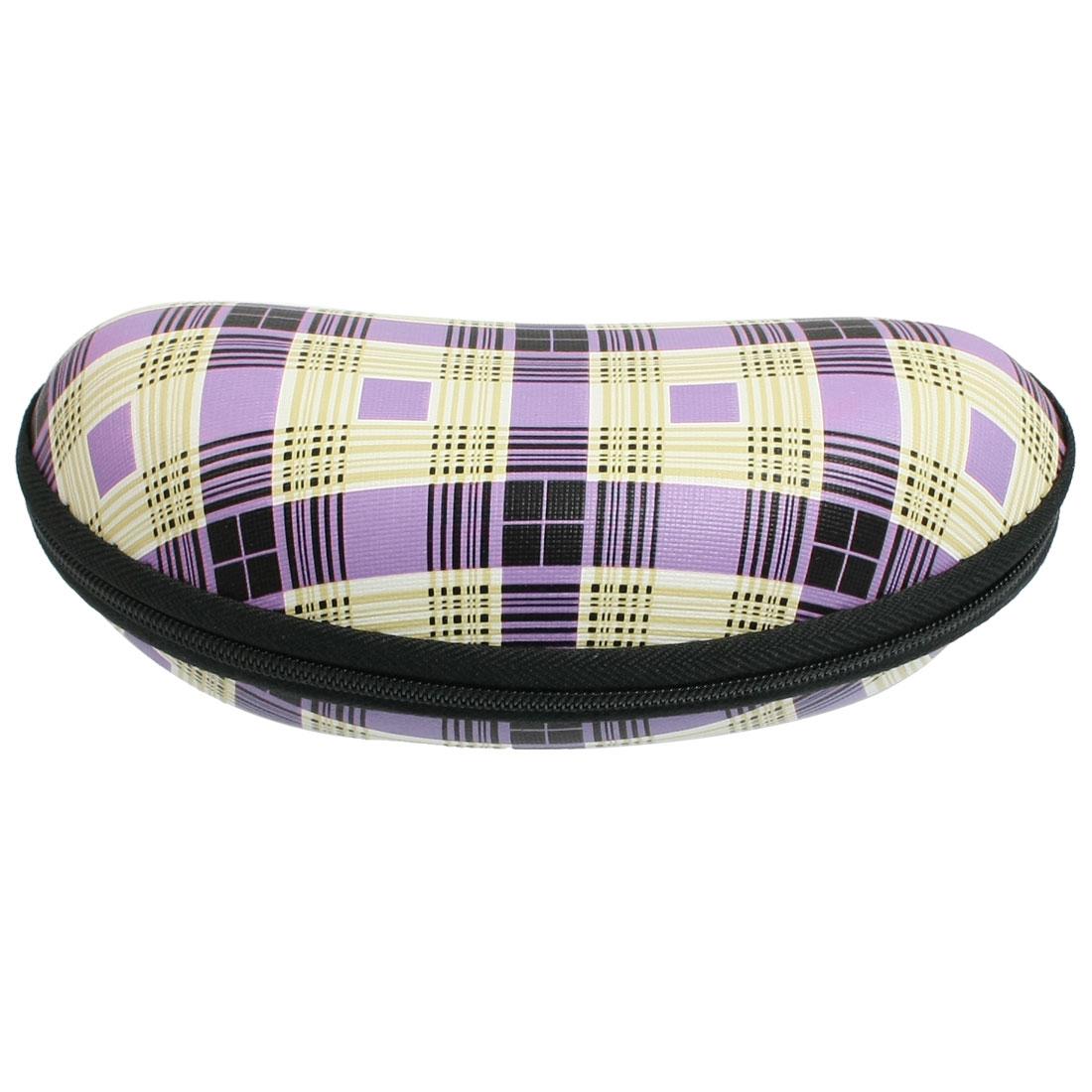 Plaid Pattern Fleece Lining Oval Shaped Zipper Closure Eyeglasses Case Purple