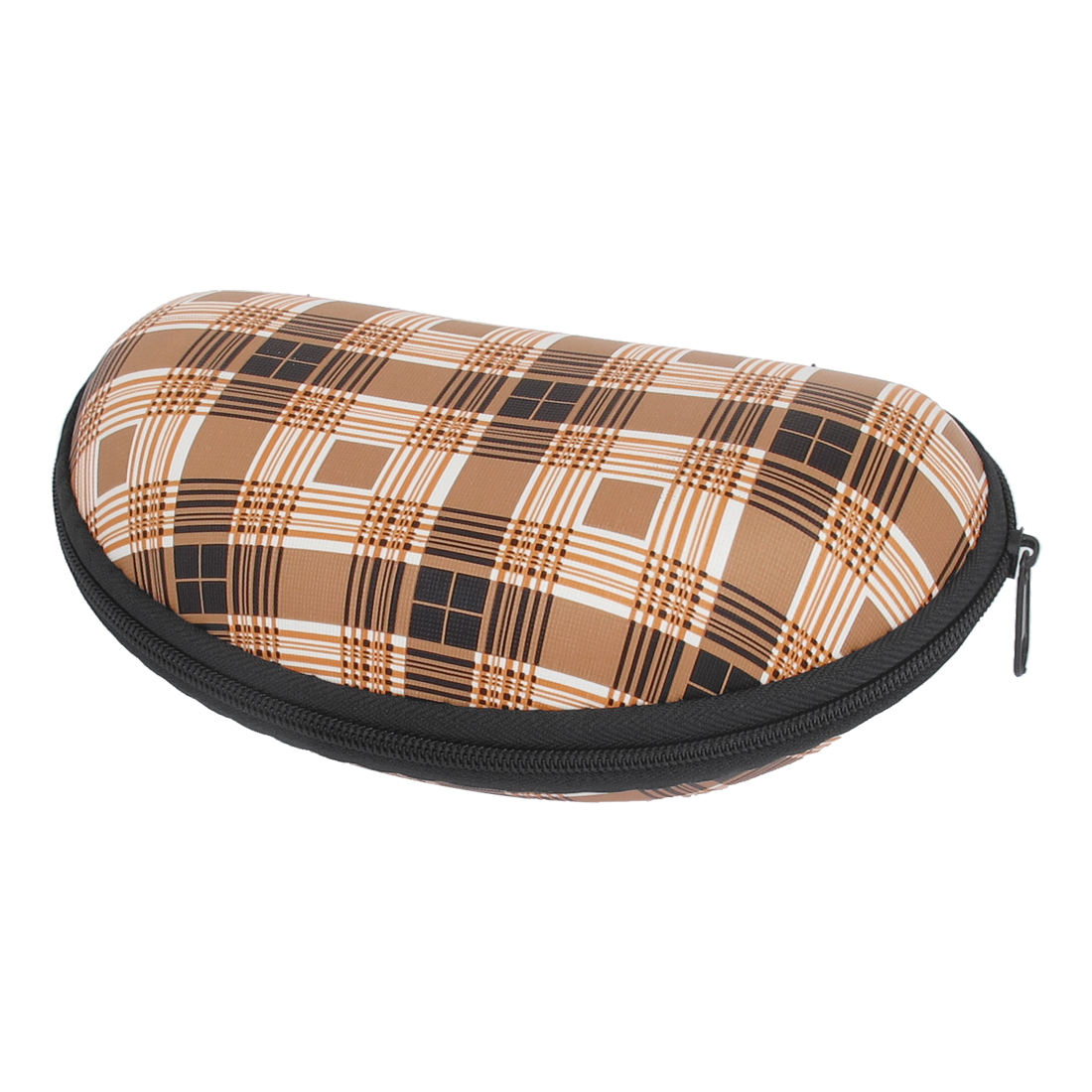 Zip Up Plaid Pattern Sunglasses Eyeglasses Case Holder Box Beige