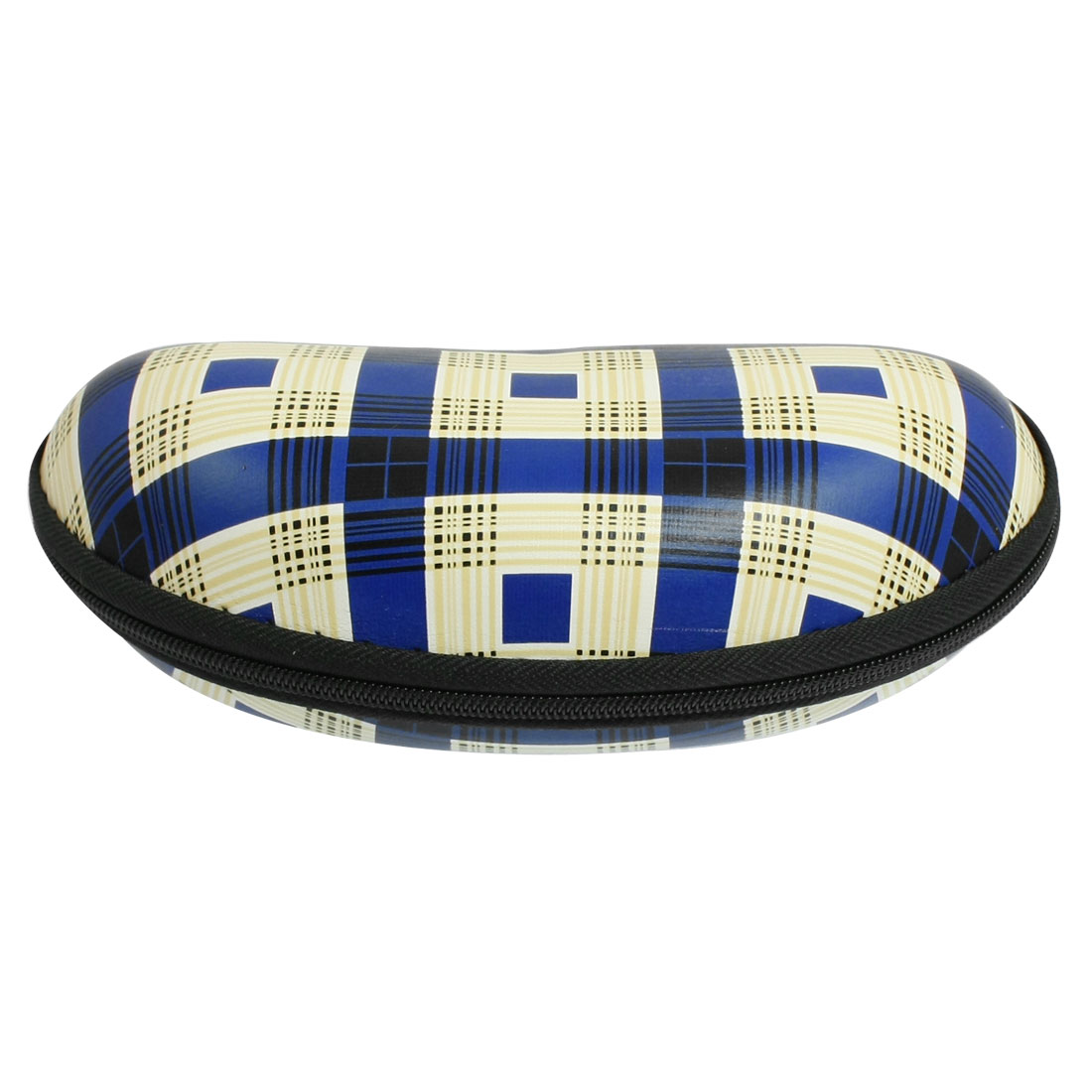 Blue Plaid Printed Fleece Lining Oval Shaped Zipper Closure Eyeglasses Case