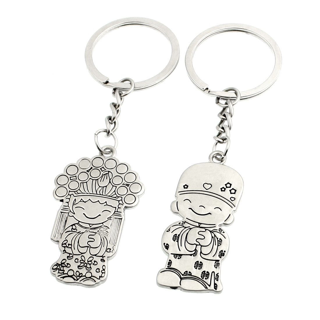 Pair Silver Tone Metal Cartoon Girl Boy Pendant Keyrings for Lovers