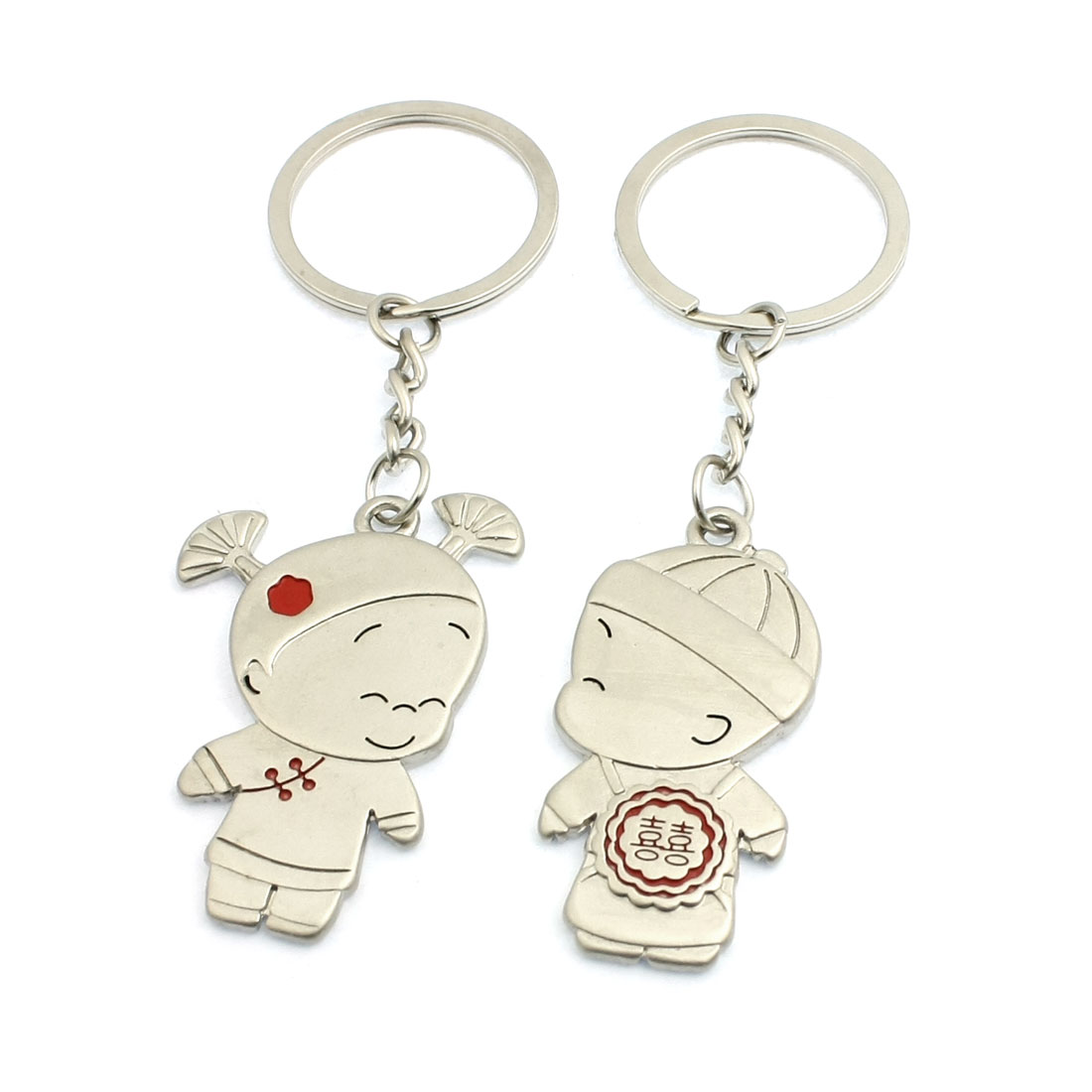 Pair Silver Tone Metal Hatted Girl Boy Pendant Keyrings for Lovers