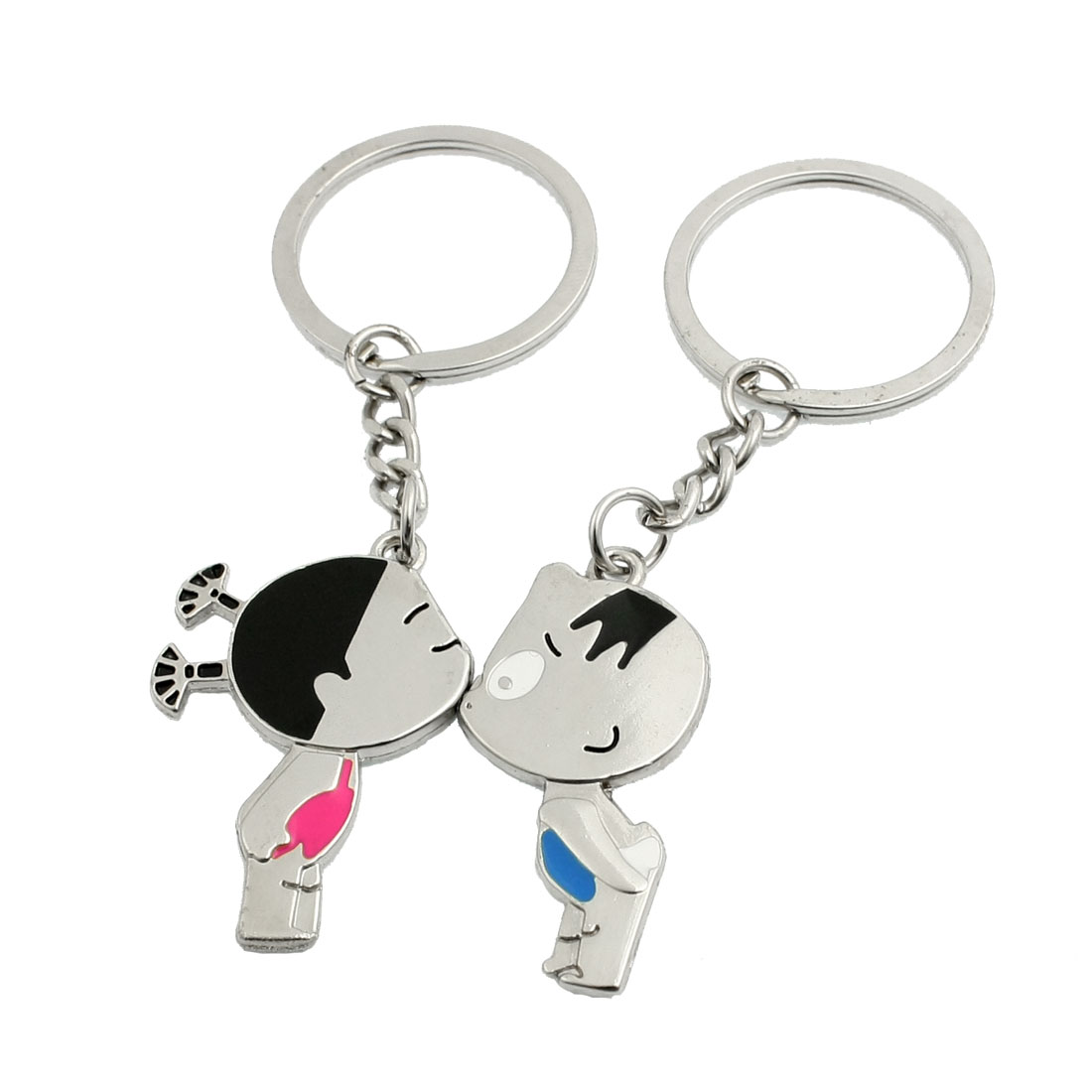 Pair Silver Tone Metal Kiss Girl Boy Pendant Keyrings for Lovers
