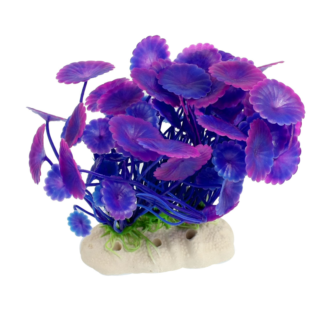 Ceramic Base Purple Plastic Manmade Fish Tank Water Grass Aquatic Plants 4.4""