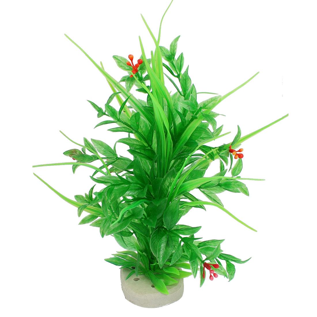 "Ceramic Base Green Plastic Manmade Fish Tank Water Grass Aquatic Plants 9.8"""