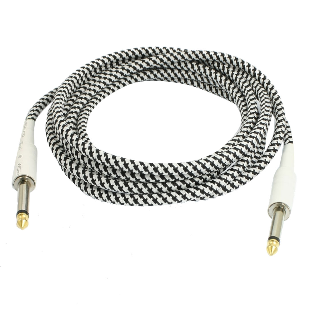 6.3mm Plug Braided Tweed Guitar Cable Cord White Black 3 Meters 9.8 Ft