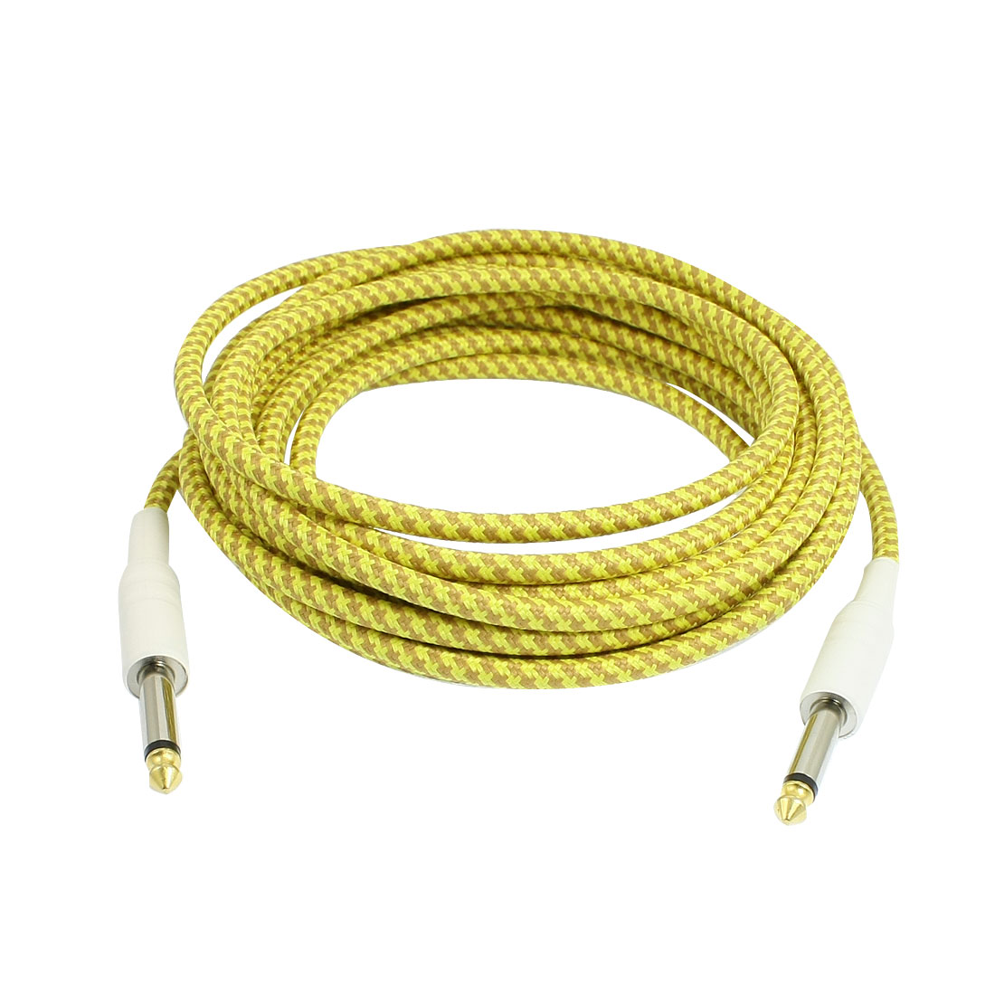 Straight Jack Braided Electric Guitar Cable Replacement 5M Length Yellow Khaki