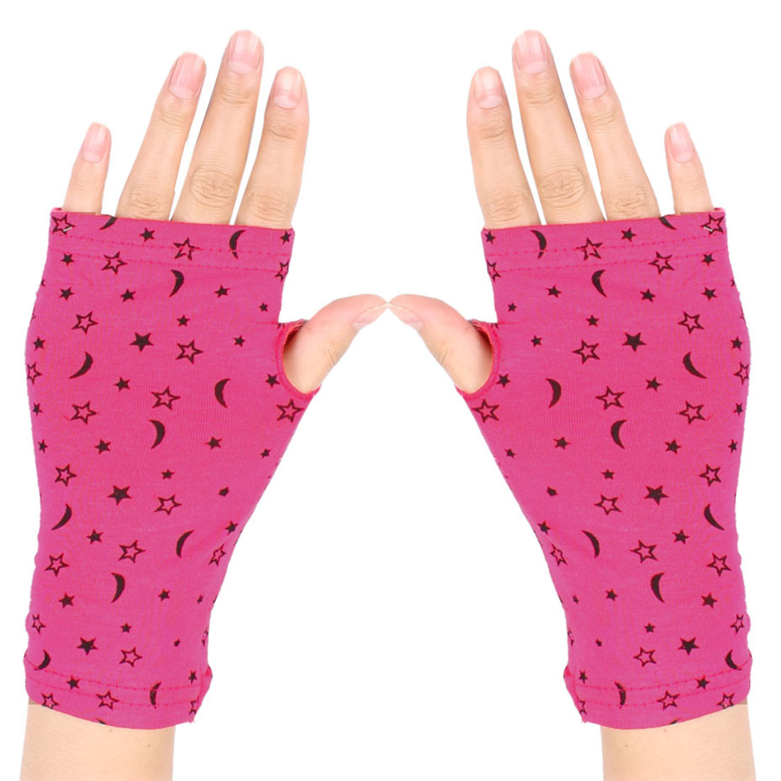 Women Black Stars Pattern Short Wrist Fingerless Gloves Mittens Fuchsia Pair