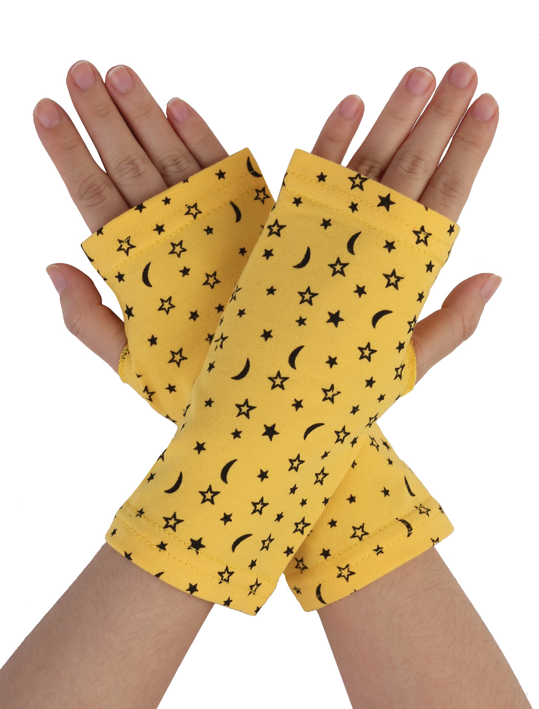 Women Moon Star Print Short Fingerless Gloves Wrist Warmer Mitts Yellow Pair