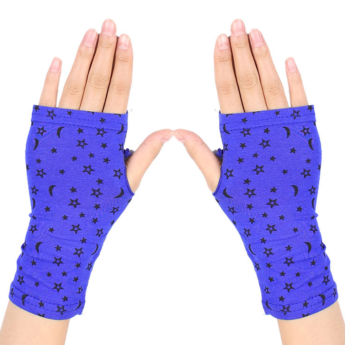 Women Black Stars Pattern Short Wrist Fingerless Gloves Mittens Blue Pair
