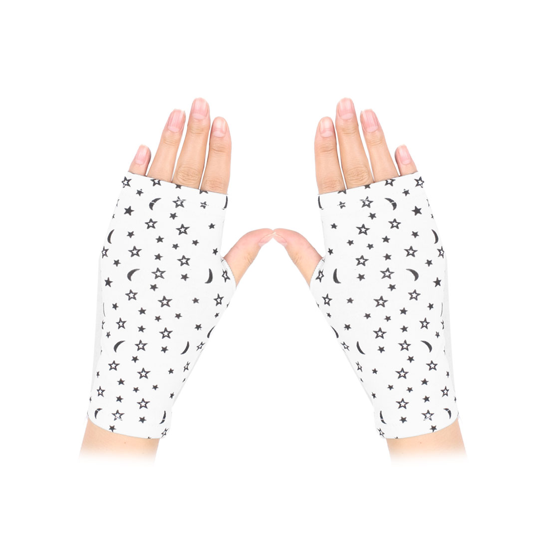 Women Stars Pattern Short Wrist Warmer Fingerless Gloves Black White Pair