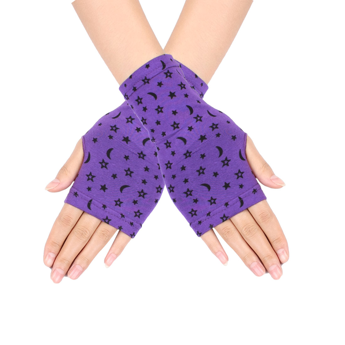 Womens Black Stars Print Short Wrist Fingerless Gloves Mittens Purple Pair