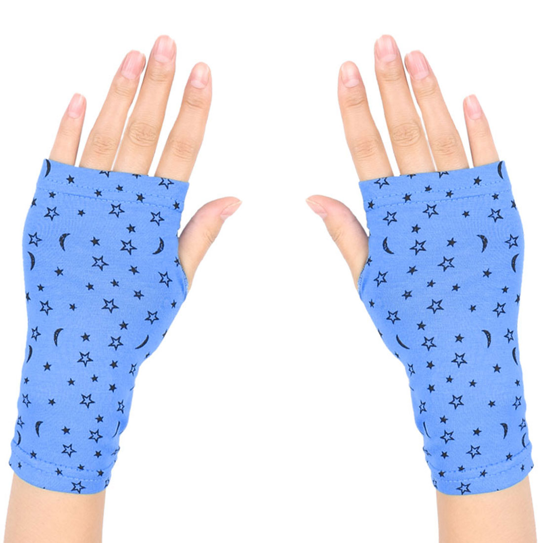 Women Stars Pattern Short Wrist Fingerless Gloves Mittens Cyan Blue Pair