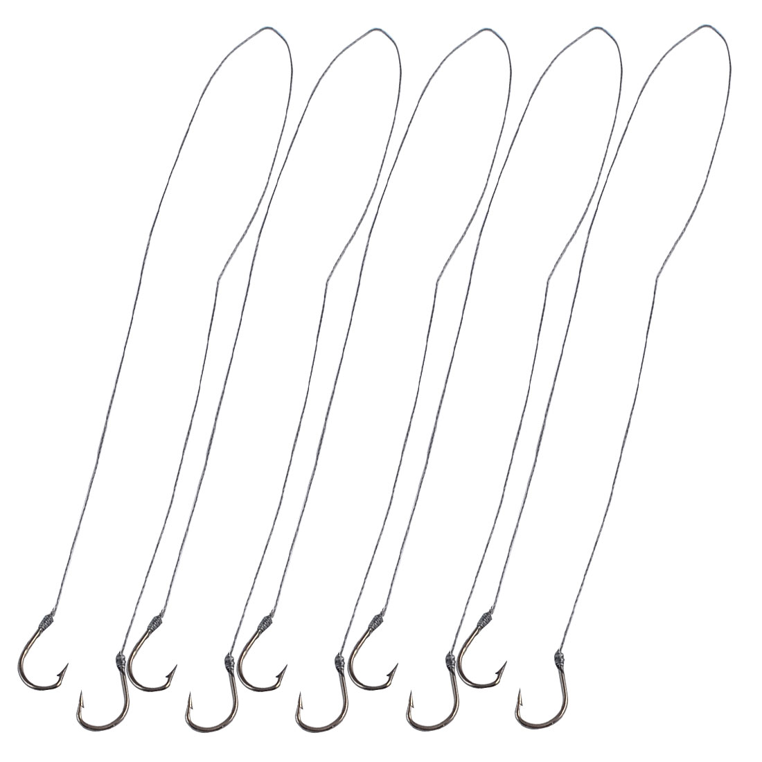 Size 6 Gray Fishing Tackle Mini Metal Barb Fishing Hooks 5 Pairs
