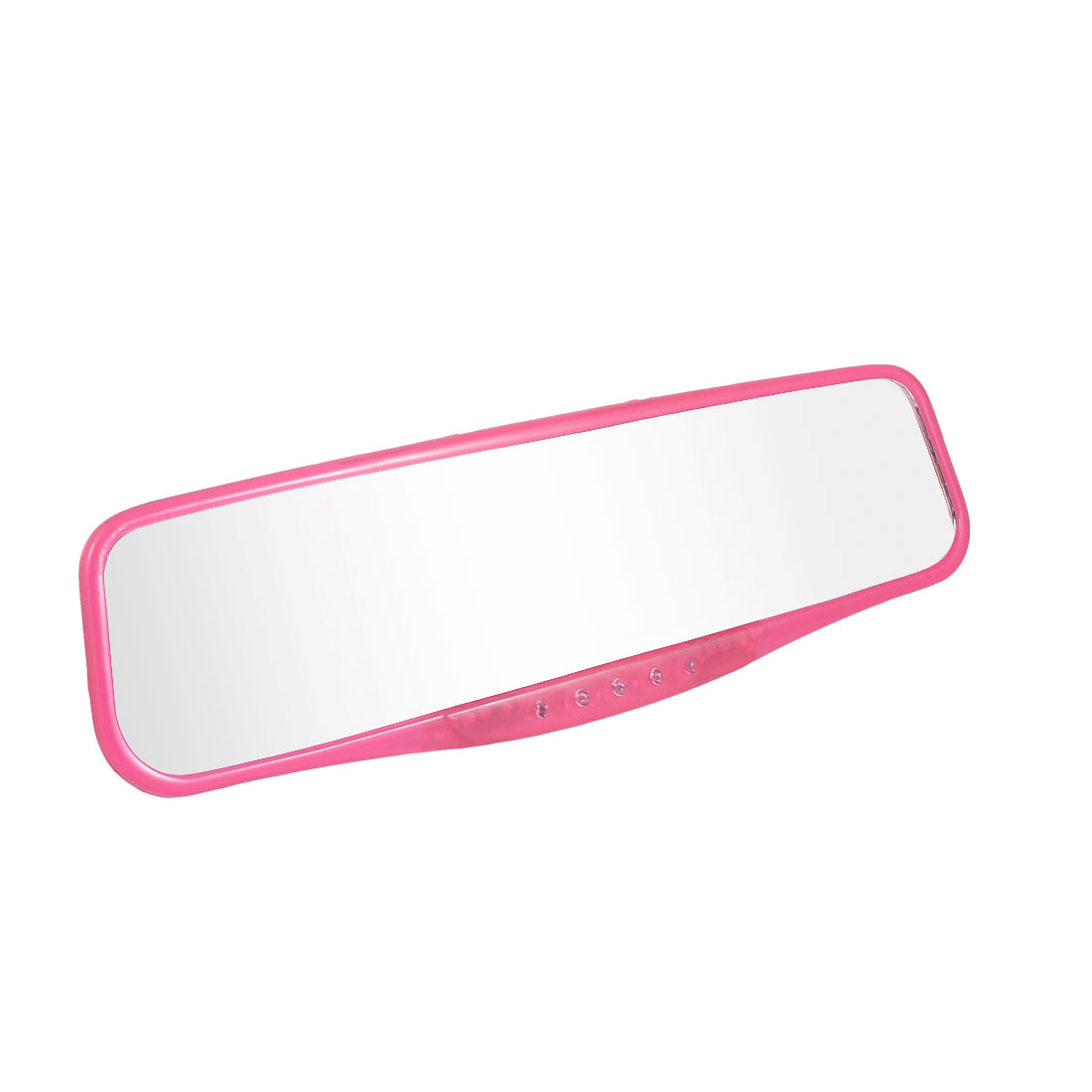 Auto Car Interior Rectangular Fuchsia Plastic Frame Flat Rearview Mirror