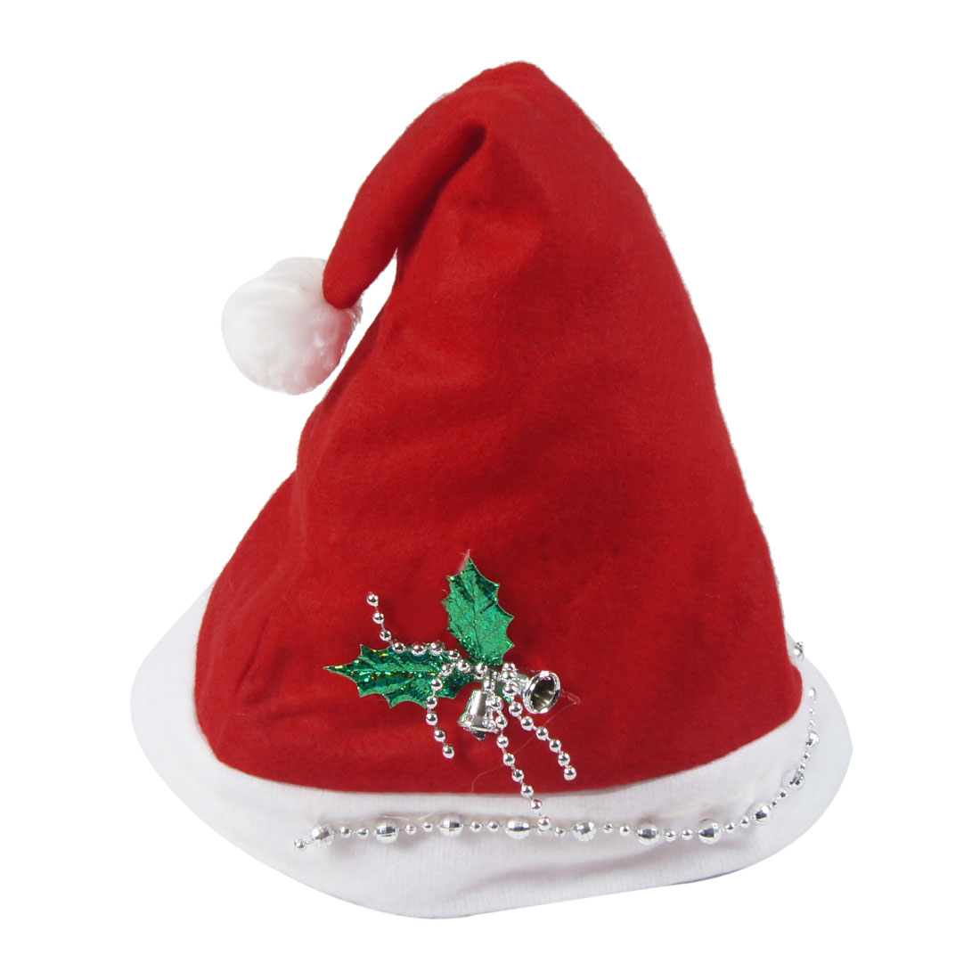 White Trim Silver Tone Bells Decor Christmas Santa Hat for Adults