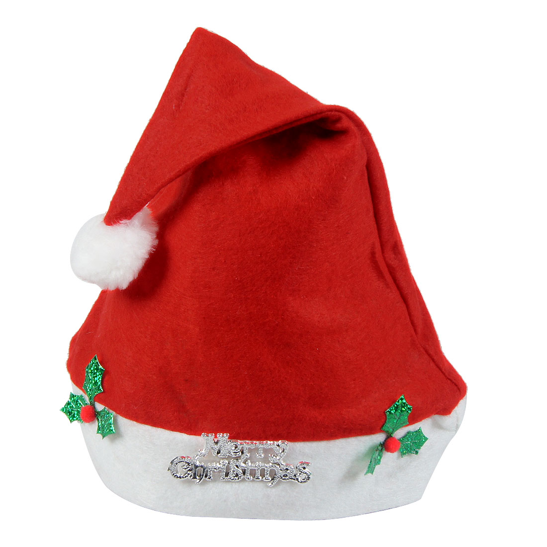 Leaves Decor White Trim True Red Christmas Santa Hat for Adults