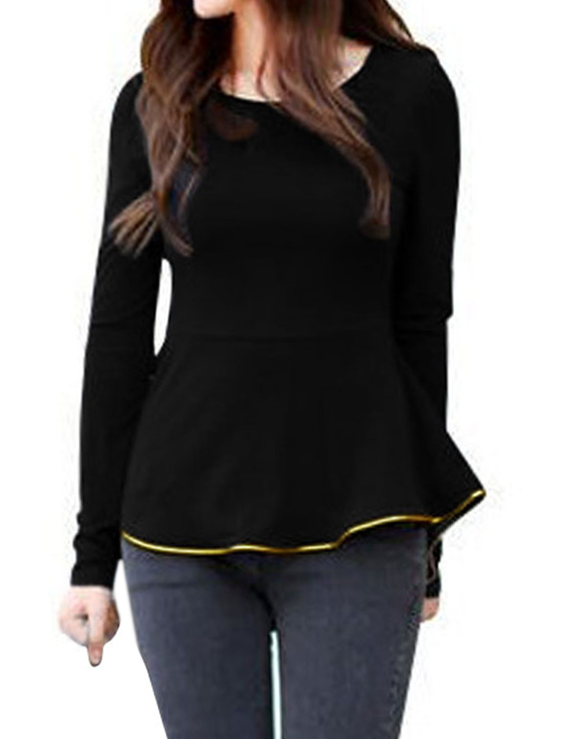 Ladies Black Long Sleeves Pullover High Low Hem Casual Autumn Shirt XS