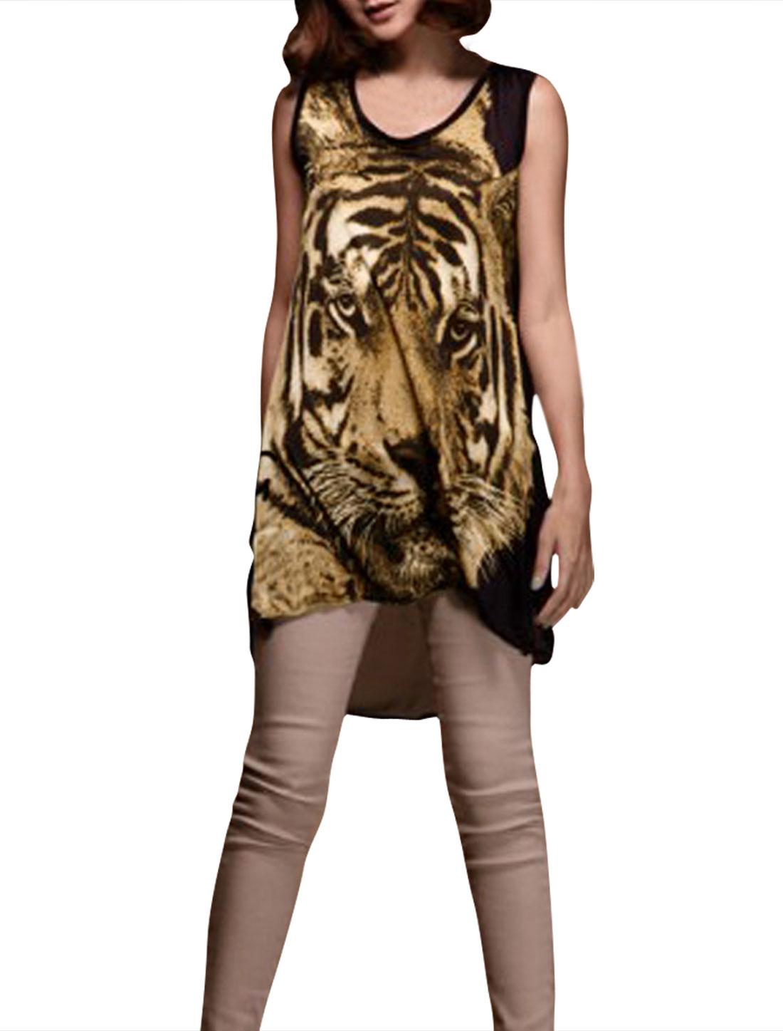 Ladies Khaki Sleeveless Scoop Neck Tiger Print Shirt XS