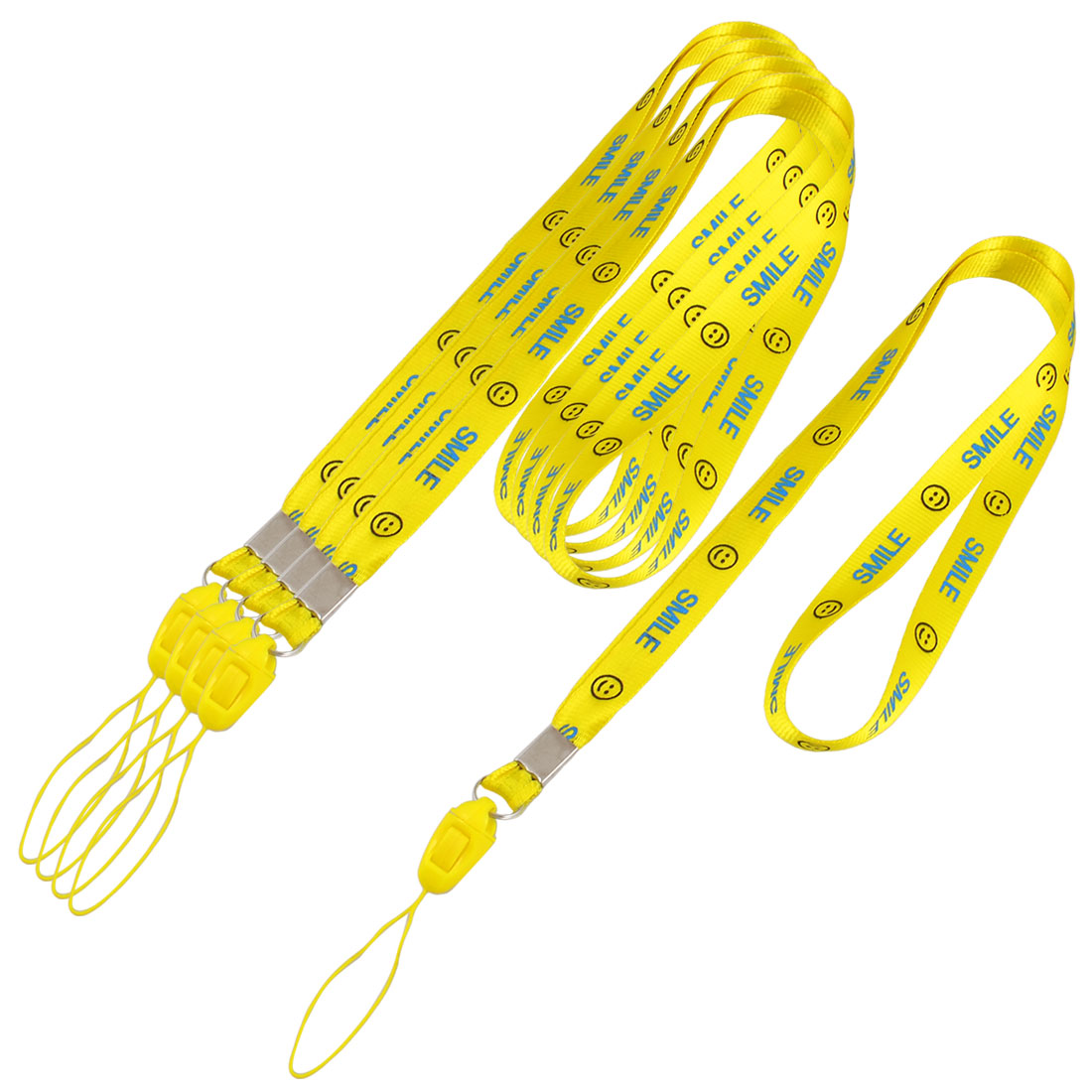 5 Pieces Lettered Smile Face Pattern Phone MP3 Card Neck Lanyard Yellow