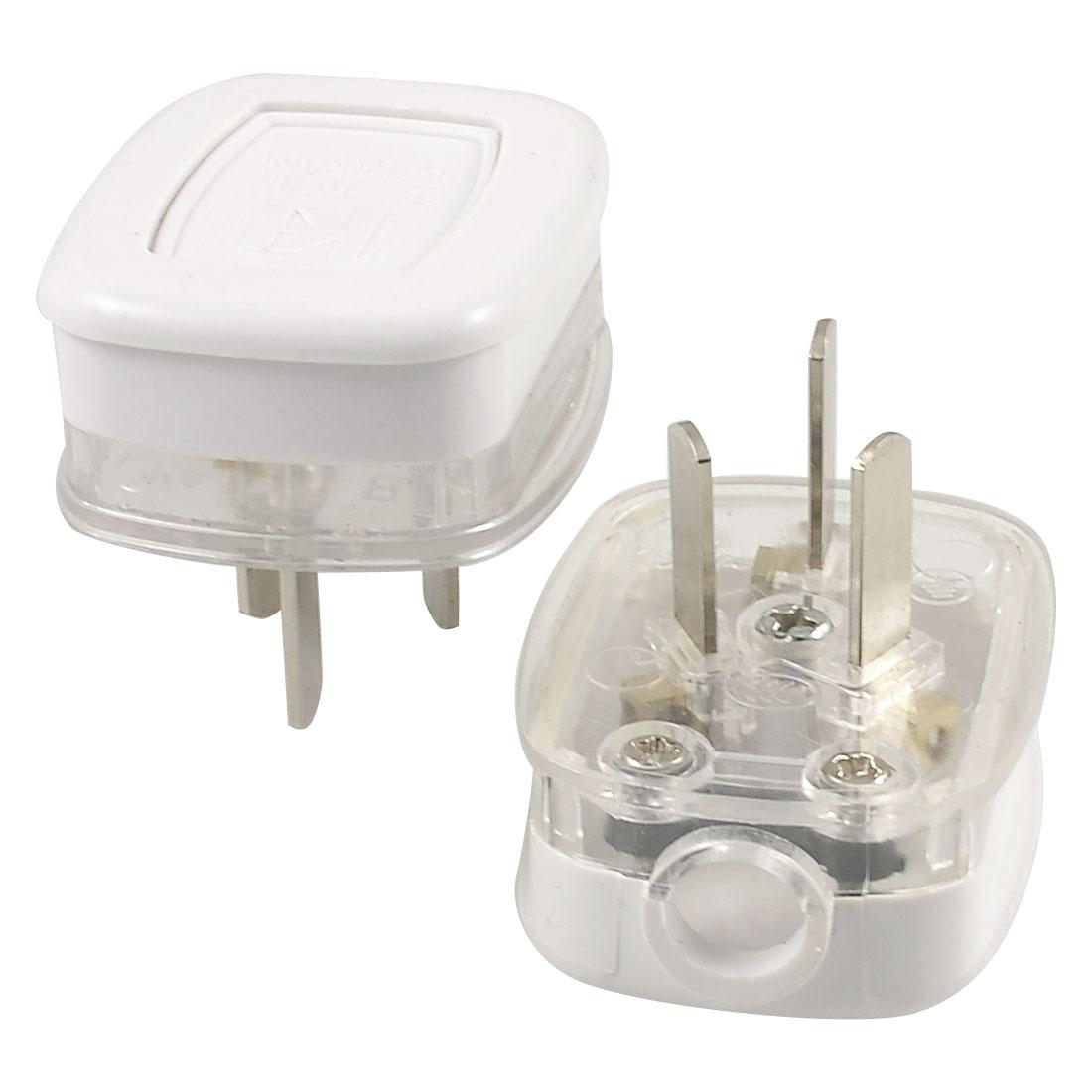 2 Pcs White Clear Housing AU 3 Pins Power Cord Plug Connector Head AC 250V 10A