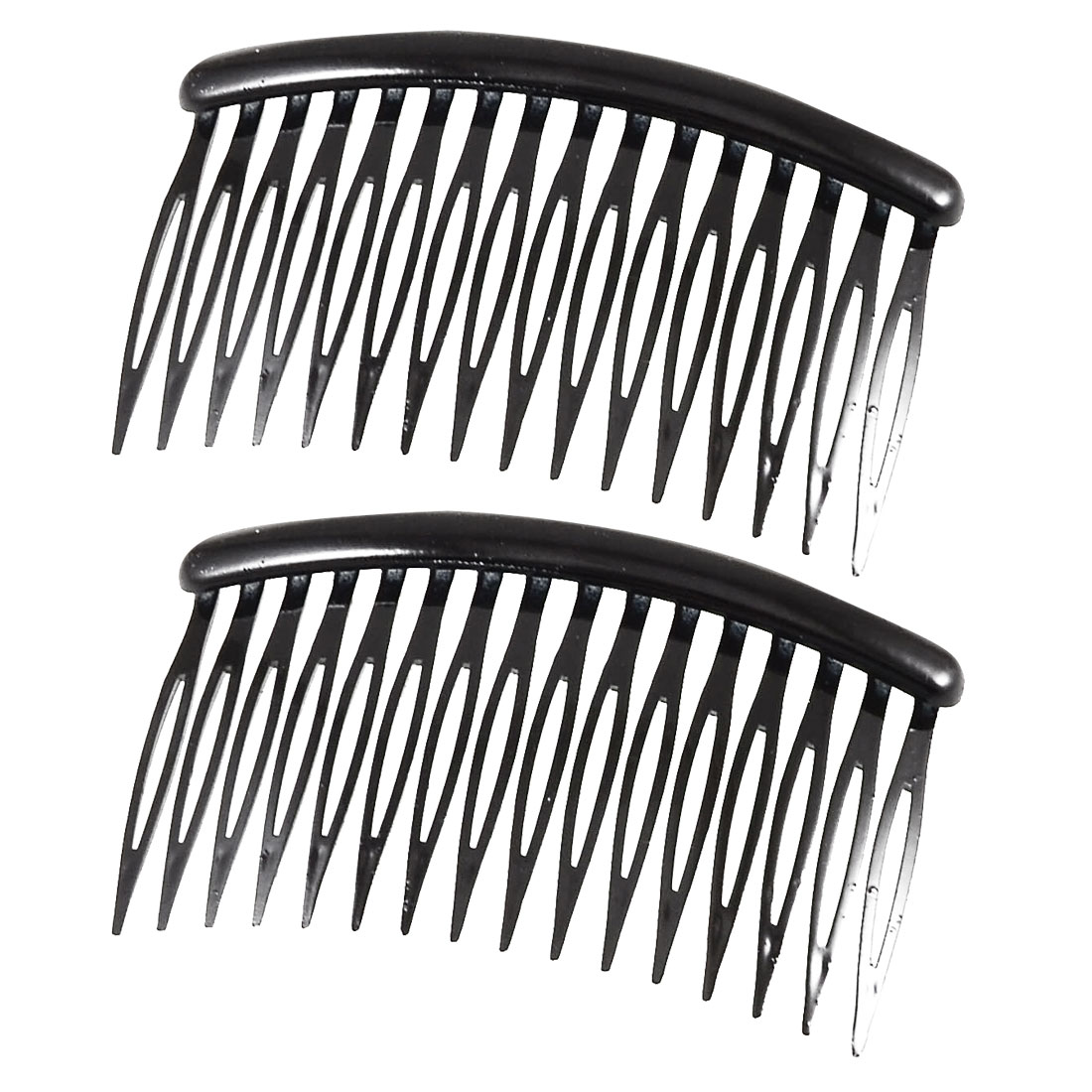 "Women 16 Teeth Black Plastic Comb Hair Clamp Hairdressing Pin Clip 3.1"" Long 2 Pcs"