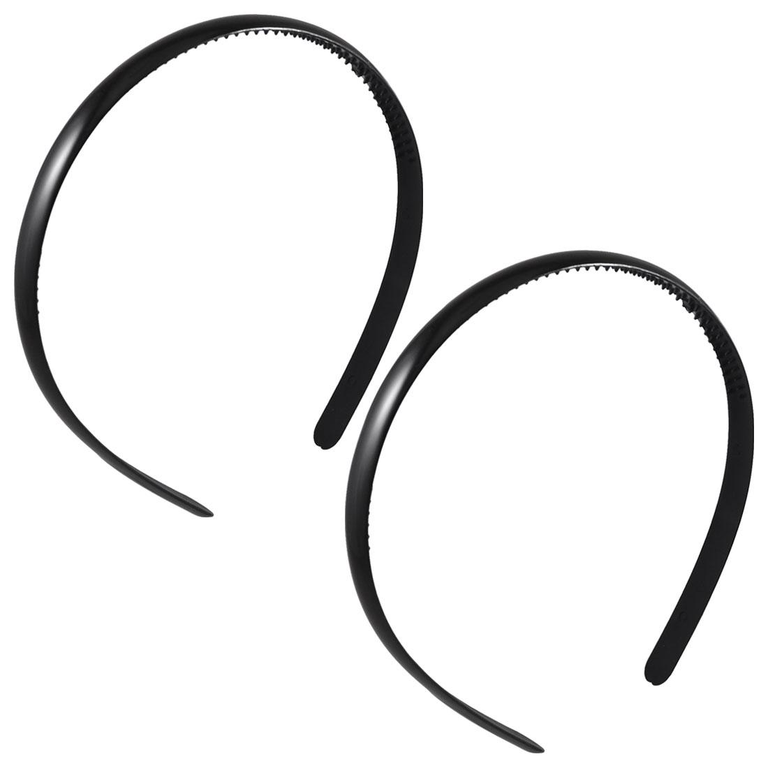 "2 Pcs Black 0.4"" Width Plastic Frame Dual Row Teeth Hair Headwear Hoop Head Band for Girls"