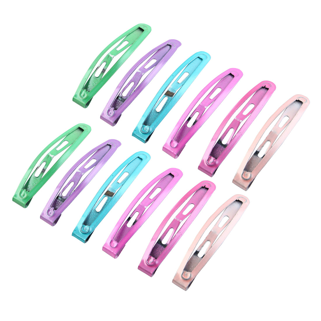 "12 Pcs 1.7"" Metal 6 Colors Snap Bendy Hair Clips Bow Prongs for Girls"