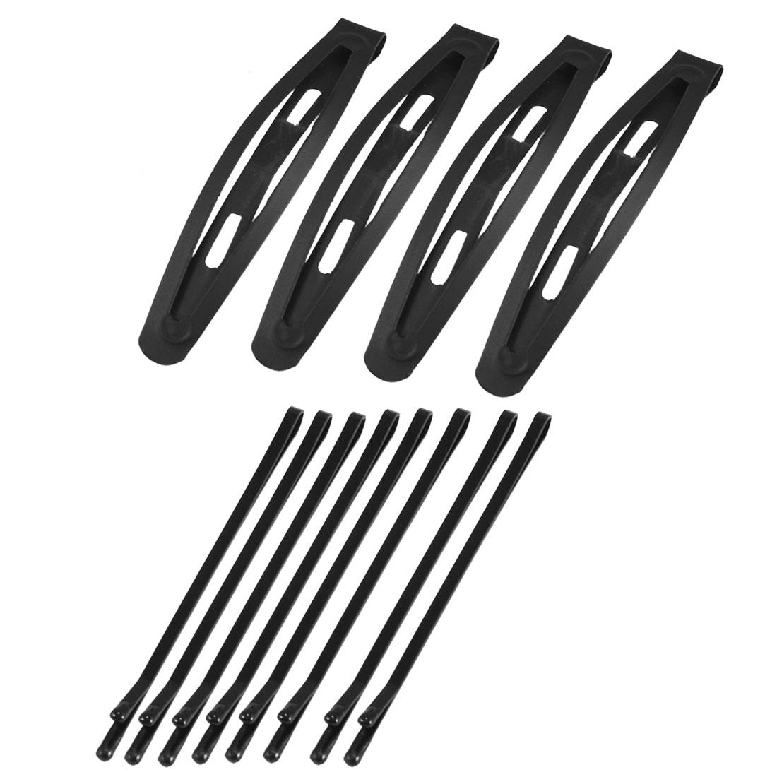 Ladies DIY Hairdo Black Metal Hairpins Bow Prong Bobby Pins 12 in 1