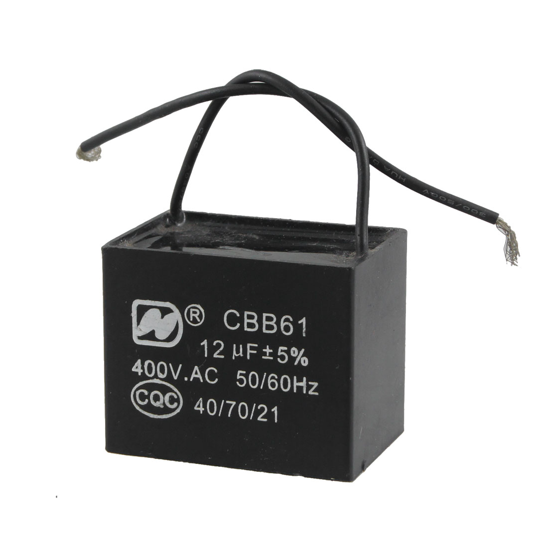 12uf MFD 400V AC 50/60Hz 2 Black Wire Electric Fan Capacitor CBB61